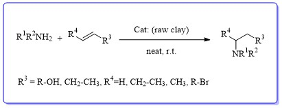 Evaluation of reaction of aza Michael catalyzed by raw red clay of Adrar-Algeria zone, under solvent-free conditions, and at room temperature