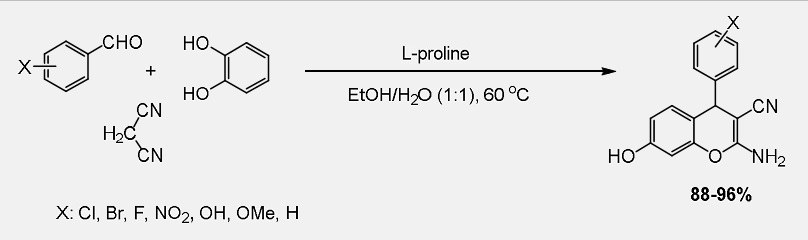 One-Pot synthesis of 2-amino-4H-chromenes using L-Prolineas a reusable catalyst