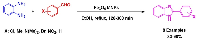 Fe3O4 magnetic nanoparticles (Fe3O4 MNPs): A magnetically reusable catalyst for synthesis of Benzimidazole compounds